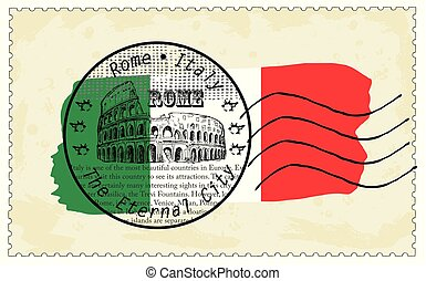 itália, selo, bandeira nacional, roma, colosseum