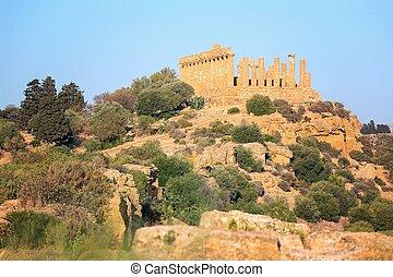 itália, templos, juno, sicília, templo, grego, b.c.), vale,...