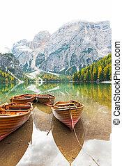itália, tirol, braies, lago, closeup, barcos, sul