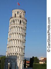 itália, torre branca, pisa, tuscany, grande, se
