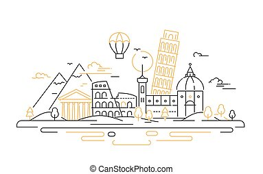 itália, viagem, -, ilustração, vetorial, linha