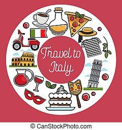 itália, viagem, símbolos, famosos, vetorial, marco