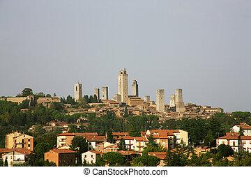 itálie, gimignano, toskánsko, san