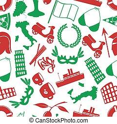 itálie, země, námět, rozmanitý, ikona, seamless, model, eps10