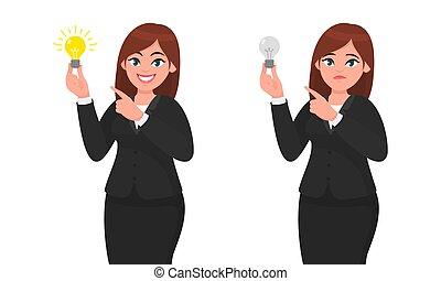 it., índice, conceito, invenção, illustration., apontar, executiva, luminoso, infeliz, idéia, direção, dedo, segurando, inovação, bulbo, luz, feliz