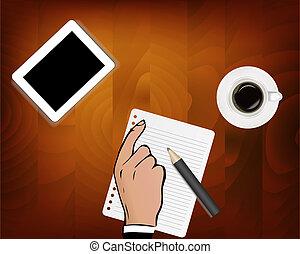 it., μολύβι , γραφείο , εργαζόμενος , αδυναμία , ανώτατος , δισκίο , απομονωμένος , χέρι , επιχείρηση , φόντο. , βλέπω , λώτ , γραφείο , τραπέζι , αγαθός ανδρικός , coffee.