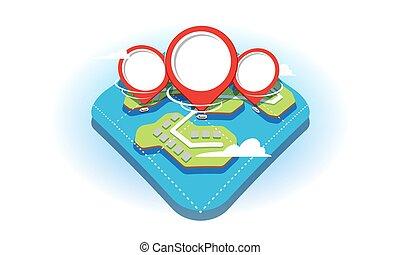 it., 地図, スタイル, 概念, clipart, ショー, 分解しなさい, map., 利用できる, 隔離された, 平ら, 水, バックグラウンド。, 赤, 地理的, 池, ピン, 白, ナビゲーション, 輸送, 3d