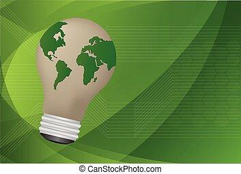 it., 地図, ライト, イラスト, ベクトル, 世界, 電球