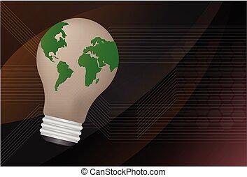 it., 地図, illustration., ライト, ベクトル, 世界, 電球