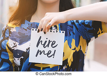 """it., 女, me"""", テキスト, 提示, メモ用紙, """"hire, 書かれた"""