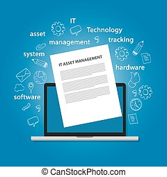 IT Asset Management or ITAM concept of managing information technology resources in company such as hardware software