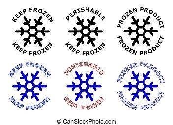 it., bleu, autour de, surgelé, texte, signe., version., garder, symbole, couleur, noir, snowflake blanc