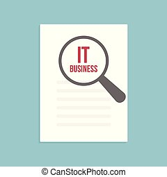 IT Business Word Magnifying Glass
