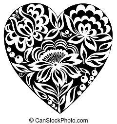 it., coeur, style, silhouette, image., noir blanc, vieux, fleurs