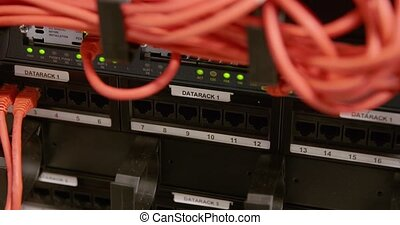 IT consultant plug in network cable in panel at datacenter -...
