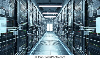 Servers close up. Modern data center. Cloud computing. 3d rendering of data for cloud computing.Digitization of information flow passing through the rack servers in the data center.