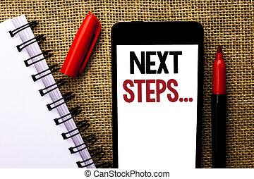 it., gefolgschaft, begriff, geben, steps...., text, beweglich, bedeutung, telefon, nächste, guideline, geschrieben, strategie, plan, hintergrund, markierung, handschrift, bewegt, richtungen, notizbuch, jute