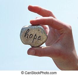 it., geschreven, hoop, rots