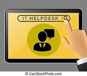IT Helpdesk Tablet Showing Information Technology 3d Illustration