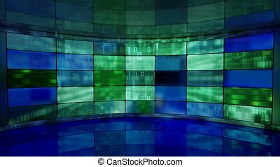 IT high-tech background on screens in virtual studio loopable. Seamless loop computer generated blue green motion background