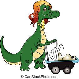 it., huevos, empujar, dinosaurio, vector, madre, cochecito