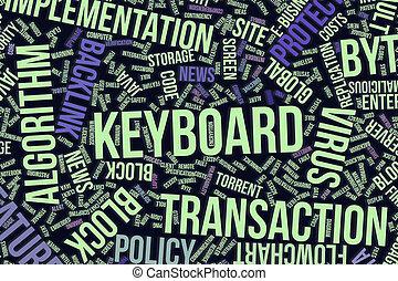it., information, mot, business, clavier, conceptuel, technologie, ou, nuage