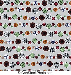 It is a background image of vintage colorful buttons.
