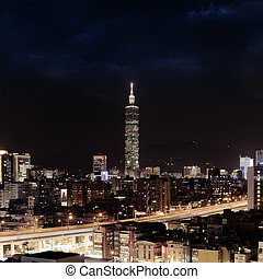 city night scene in Taipei