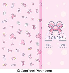it is a girl baby shower card with pattern of objects for girl