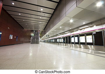 it is a large train station lobby in hong kong