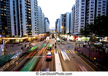 it is a shot of busy traffic in hong kong