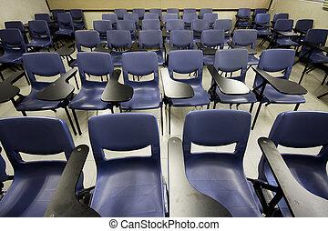 It is a shot of empty classroom