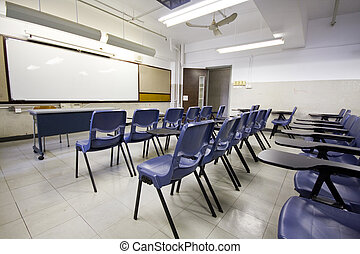 It is a shot of empty classroom