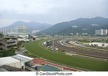 it is a shot of horse race empty track.
