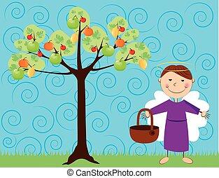 angel with tree