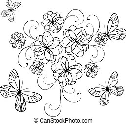 flourishes with butterflies