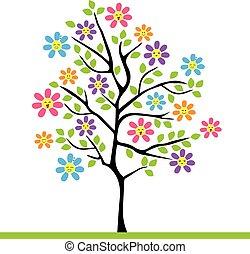 tree with kawaii flowers