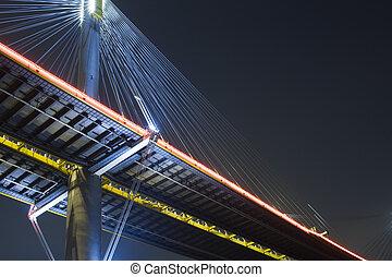 It is beautiful night scenes of Bridge in Hong Kong.
