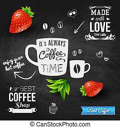 It is coffee time. Chalkboard background, realistic...