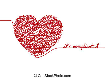 it is complicated with chaos heart, vector illustration
