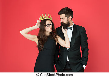 It is narcissism. Beauty queen and bearded man. Egoistic ...