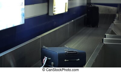 It is the picture of baggage belt sorting the luggage bags passing