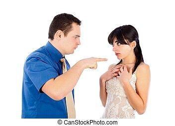Boyfriend threatening his girlfriend - isolated on white.