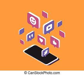 it., isometric, smartphone, media, op, moderne, illustratie, vector, toespraak, sociaal, bellen, wolk