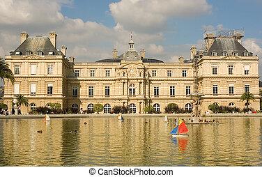 it., juguete, palacio, parís, luxemburgo, francia, barcos, frente, ponf