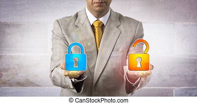 IT Manager Showing A Locked And An Open Padlock