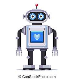 it., mignon, écran, jouet, coeur, poitrine, robot