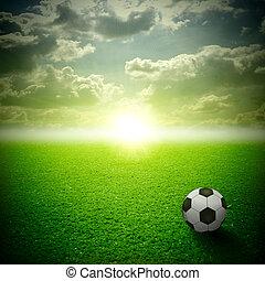 it., minden, labda, kaszáló, ég, zöld, napnyugta, futball, bírság
