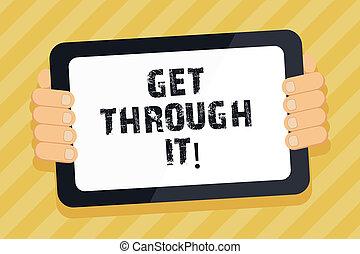 it., obtenir, texte, projection, obstacles, signe, courage, par, photo, conceptuel, empowerment., défi, surmonter