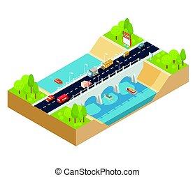 it., ponte, isometrico, automobile, sezione, croce, vettore, attraverso, fluente, paesaggio fiume, 3d